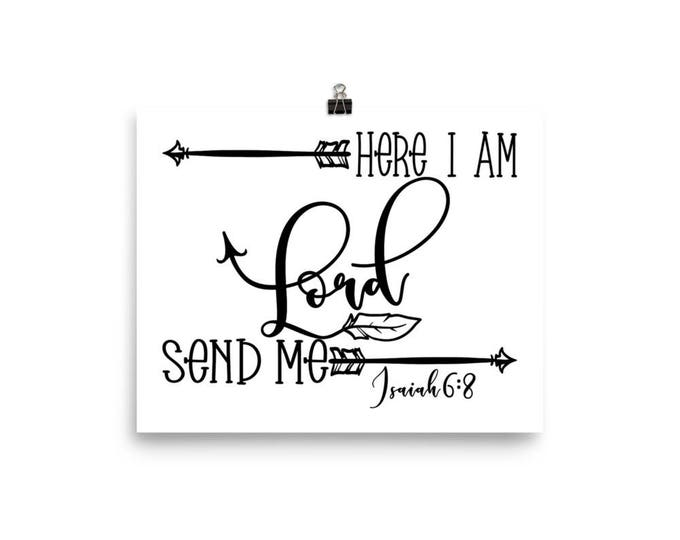 "Home Decor Wall Art Ready to Frame Poster ""Here I Am Lord Send Me"""