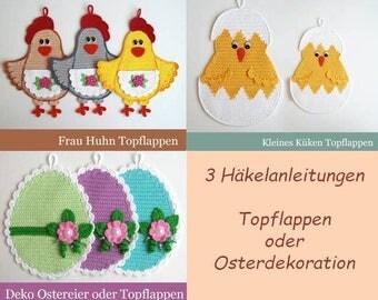 "Häkelanleitung Paket ""Frohe Ostern"" - Osterdeko oder Topflappen - 3 Pdf Zabelina Etsy"