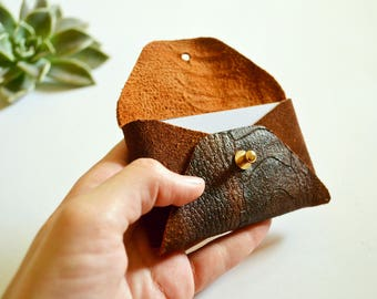 Brown leather card case with snake pattern / Brown envelope card holder / Brown leather business card case / Genuine leather