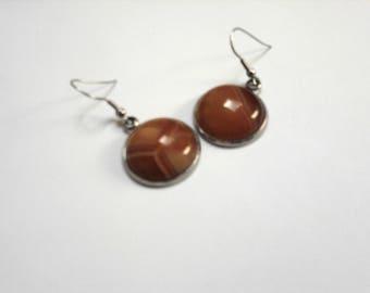 Earrings 20mm orange veined agate round, stainless steel