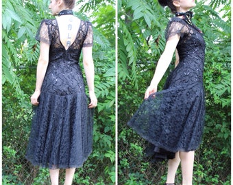 80's Gothic Prom Black Mid Length Dress Vintage Retro Clothing