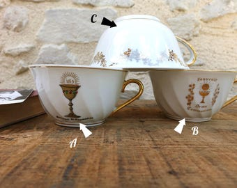 Communion Cup - White porcelain cup with decorated - Communion - genuine porcelain in France.
