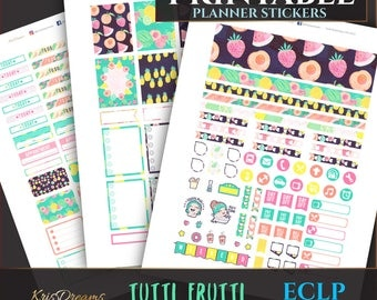 SALE 50% OFF Fruits Summer Colorful Pineapple Watermelon Erin Condren Weekly Planner Sticker Weekly Stickers Printable Cutfiles Silhouette C
