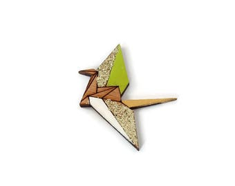 Origami wooden brooch - green and gold
