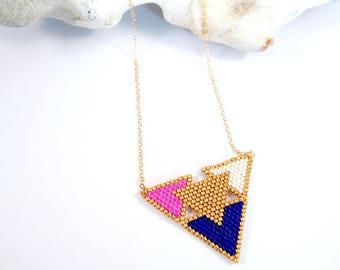 Scandinavian necklace in pearls Miyuki ★ ecru rose Goldfilled ★ blue gold
