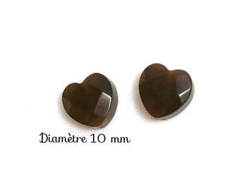 2 glass beads faceted heart - 10 mm - Brown cat's eye