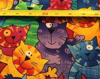 Timeless Treasure Rainbow Cats fabric  by the half yard