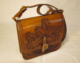 Leather, Oak Leaf, Shoulder Bag, Messenger Bag, Hand Crafted, Tooled