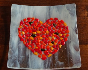 Fused glass dish with a red heart