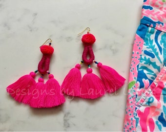 SALE | Boho Pompom Tassel Earrings | HOT PINK, pom pom, statement earrings