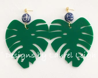 GREEN Chinoiserie Palm Leaf Statement Earrings | LARGE, blue and white, emerald, gold, Designs by Laurel Leigh, big earrings