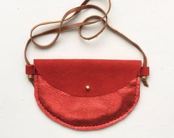 RTS Red leather girls purse, toddler purse, Christmas purse, leather bag, kid bag, leather purse, kid purse, play bag, adventure bag