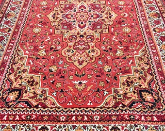 Beautiful bright rug 100% wool oriental pattern red white and yellow color warm vintage rug old big rug retro perfect for home & restaurant.