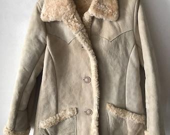 Sheepskin fur coat woman size small .
