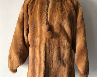 Superior Mid Length Retro Style Orange Genuine Nutria Fur Coat Elegant and Bright Size Medium.