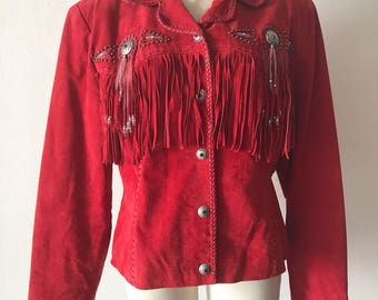 Red suede fringe jacket woman size medium .