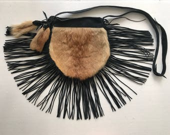 Dainty bag from real goat fur & suede with fashionable suede fringe new collection designer bag handmade women's black bag has size-small.