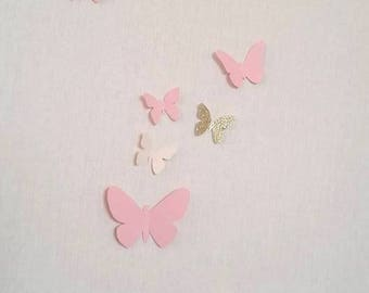 """Set of butterfly 3D """"Mademoiselle"""" theme for wall decoration"""