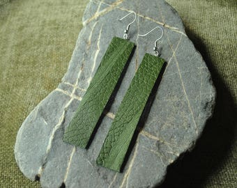 Handmade Green Dyed Leather Earrings