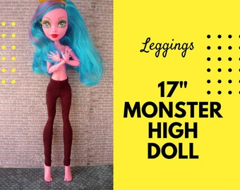 Pants for 17 inch Monster High Dolls. Black and red striped leggings for tall monster high doll. Clothes for Gooliope 17""