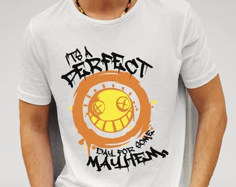 Overwatch fan gift idea, It's A Perfect Day For Mayhem, Junkrat fan shirt, gamer gift idea, boy friend gift