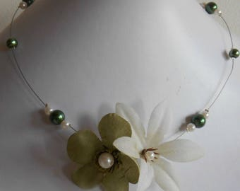 pair of green and white beaded flowers bridal necklace