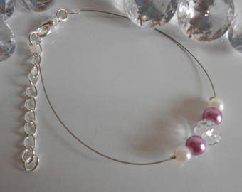 Wedding rhinestone bracelet and pearl beads, purple and white