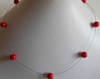 Simple wedding necklace red passion pearls