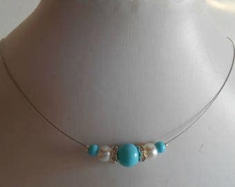 Bridal rhinestone and white and turquoise beads