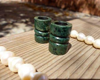 2 tubes Guatemala Jade or dark green Guatemalan long 23 10mm, dark green tube gemstone beads
