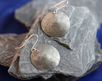 Sterling Silver Etched Earrings (082017-052)