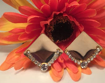 Square Gold-tone and Crystal Gem Clip-on Vintage Earrings