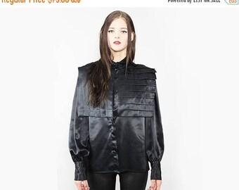 FLASHSALE 35% OFF vtg 90's black satin plated AVANT Garde shirt blouse top S M