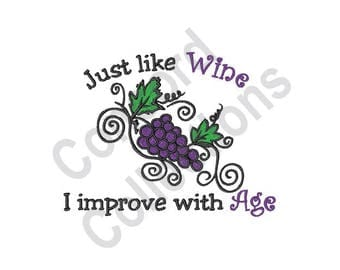 Wine - Machine Embroidery Design, Grape Vines - Machine Embroidery Design