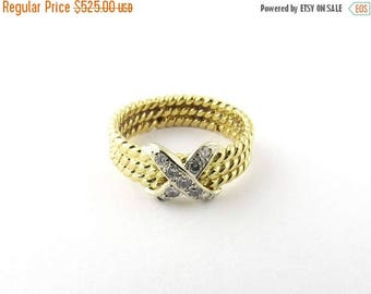 Christmas in July Sale Vintage 18K Yellow Gold and Diamond Cable X Ring Size 6 #1096