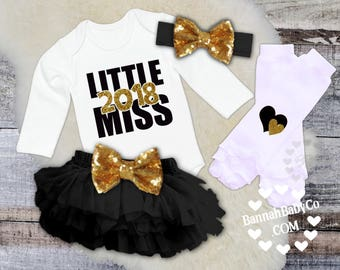 Baby Girl Clothes, Girls New Years Outfit, Little Miss 2018, My First New Years, Black and Gold Glitter Bodysuit, Opt Set, One Piece