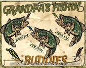 GRANDPA'S FISHIN' BUDDIES Personalized Fishing T Shirt Kid's Names Added Free! Perfect Gift for the Fisherman on your List! All Sizes S-3X