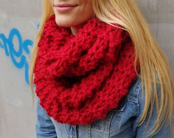 Red wool chunky hand knit infinity winter soft scarf, oversized circle handmade cowl scarf, winter fashion accessories, knitted items