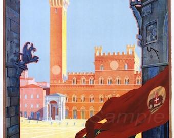 Vintage Tuscany Italy Italian Travel Poster Print