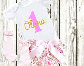 Personalised 1st Birthday Outfit Cake Smash Tutu Bloomers Vest Pink & Glitter Gold Socks Set Girls Party Dress Your Name Bow Ribbon One