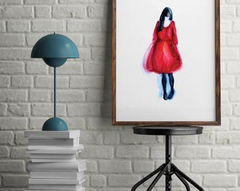 Girl in red dress Wall Art, Wall Art Printable,Poster Download,Digital Download Art,Wall Art Decor, Home Decor Wall Art, INSTANT DOWNLOAD