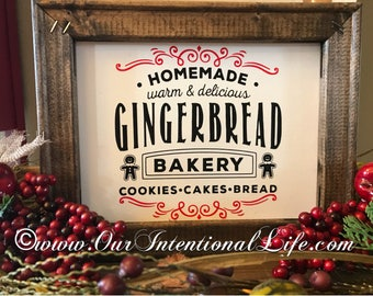 Gingerbread Bakery Wooden Sign