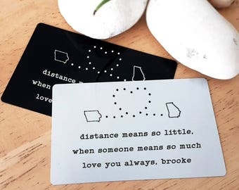 Long Distance Accessory Metal Wallet Insert Card State to State Message Anniversary card Engrave Handwriting Custom Handwritten W10