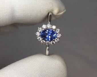 GIA CERTIFIED 1.01ct UNTREATED Ceylon Blue Sapphire White Gold Diamond Halo Ring