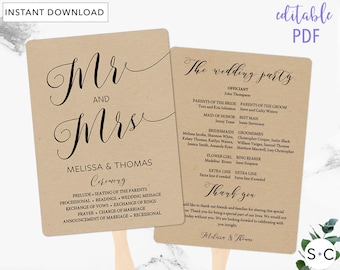 Wedding Program Fan Template Rustic Templates Mr And Mrs DIY