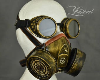 Gold Steampunk Respirator Mask with Goggles | Steampunk gas mask | Burning Man Mask | Dust Mask | Steampunk cosplay | Steampunk mask