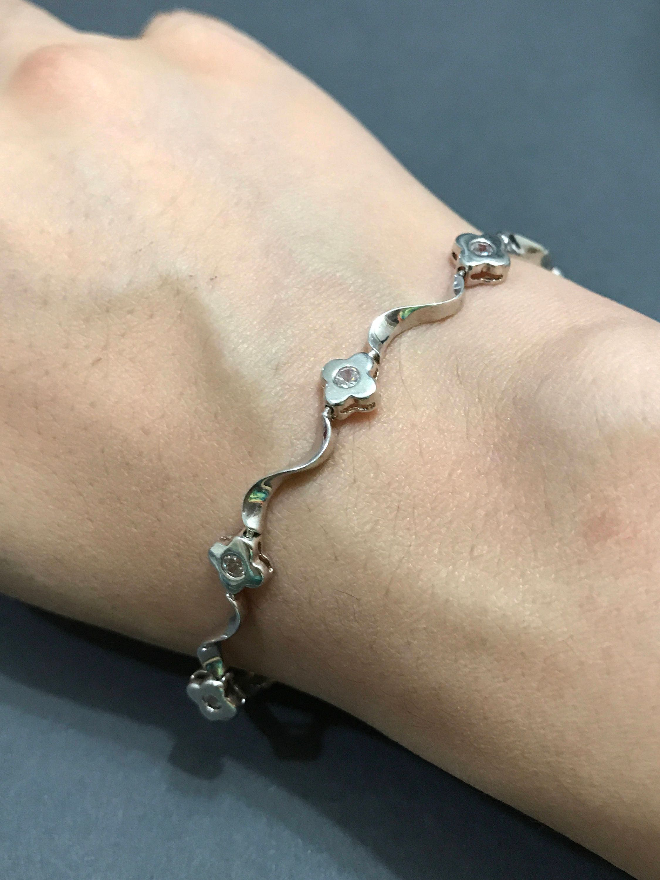 gitter gold anklet tennis prong bracelet diamond and product two reuven white