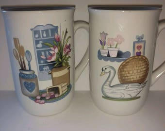 2 vintage 1980s coffee mug cup Goose Blue Ribbon country kitchen decor