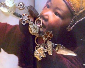 Mongolia elephant and jade necklace