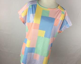 Vintage 60s L Large Shirt Blair Pink Blue Yellow Colorblock Lightweight Pucker Gathered Shoulder Lightweight Summer V5